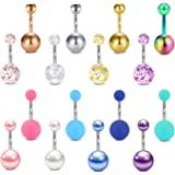 AceFun 8 pezzi piercing all'ombelico piercing all'ombelico in acciaio inox anello all'ombelico body tasto dell'ombelico pierc