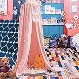 KING DO WAY Betthimmel Deko Baldachin aus Leinwand , Bett-Überdachung für Baby-Kind-zelte aus Cotton Canvas,Mückennetz Moskitonetz Insekten-Malaria Schutz,Hohe 240cm,Rosa