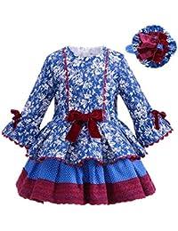 Lajinirr Spring Niñas Blue Dress Conjuntos Florales de la Manga de la Llamarada de Cintura Alta