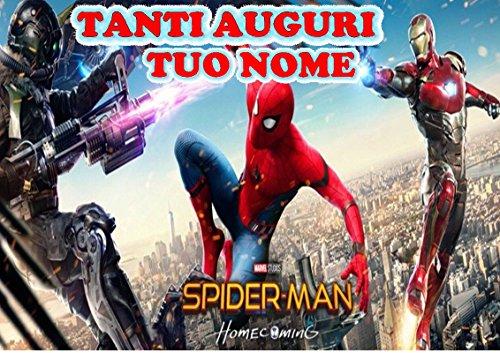 Spiderman Home Coming Herren Spinne Waffel in Ostia für Kuchen personalisierbar-Kit N ° 12cdc- (1Waffel in Ostia Abmessungen Folio A4210× 297mm)