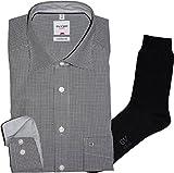 Olymp Hemd Luxor Comfort Fit - langarm, New Kent Kragen, schwarz, Check+ 1 Paar hochwertige Socken, Bundle