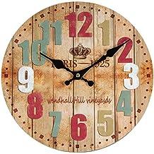 Perla pd diseño Reloj de pared, de cocina, diseño vintage, Diámetro aprox. 28cm, madera, Paris Color
