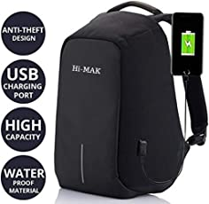 MITKIN Multi Functional Anti Theft Waterproof Linen Laptop Bag with USB Charging Point (Purple, Black, MK001)