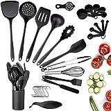 33pcs Ustensiles de Cuisine Silicone, Ustensiles de Cuisine Noir avec Support, Set de Cuisine Antiadhésive Anti-Rayure Spatul