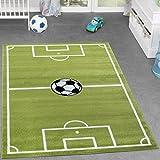 Kinder Teppich Fussball Spielen Kinderzimmerteppiche Fussballplatz in Grün Creme