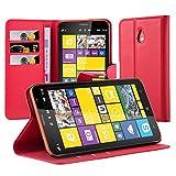 Cadorabo - Custodia a Libro per Nokia Lumia 1320, con Scomparto per Carte di Credito e Funzione di Supporto, Colore Rosso Carminio