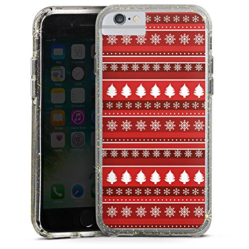 Apple iPhone X Bumper Hülle Bumper Case Glitzer Hülle Baeume Christmas Weihnachten Bumper Case Glitzer gold