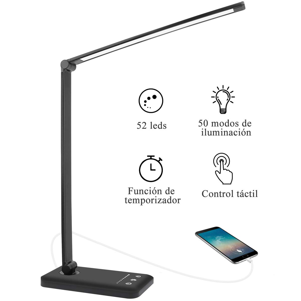 AUELEK Lámpara Escritorio LED, Lámparas de Mesa USB Recargable Flexo Luz con Diseño Giratorio/Control Táctil/ 3 Brillos/ 5 Colores