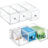 mDesign rangement de cuisine à 3 tiroirs (lot de 2) – boîte à tiroirs en plastique idéale comme rangement à thé – boîte…