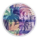 BBQBQ Strandtuch Runde Leicht und Kompakt Stranddecke Schnelltrocknend, Runde Quasten verblassen Nicht Federn 5 300 g Polyester