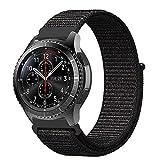 Fintie Armband für Galaxy Watch 46mm / Gear S3 Frontier/Gear S3 Classic - Premium Nylon Atmungsaktive Uhrenarmband Ersatzband mit Verstellbarem Verschluss [ groß ], Schwarz