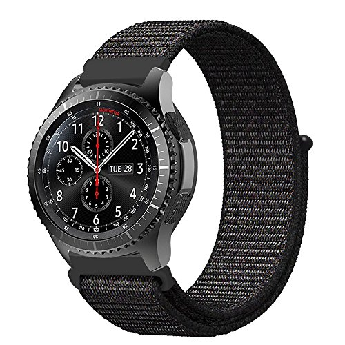 Fintie Armband kompatibel für Galaxy Watch 46mm / Gear S3 Frontier/Gear S3 Classic/Huawei Watch GT - Premium Nylon Uhrenarmband Ersatzband mit Verstellbarem Verschluss [ groß ], Schwarz - Gummi-band-größen
