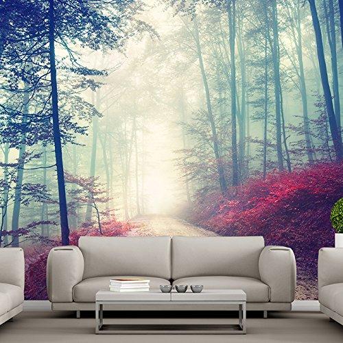 Magische rote Straße Wandbild Nebelhafter Waldbaum Foto-Tapete Wohnzimmer Dekor Erhältlich in 8 Größen