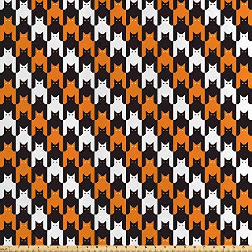 ABAKUHAUS Halloween Satin Stoff als Meterware, Katzenmooth-Muster, Zum Nähen Toller Stoff für Heimtextilien Aller Art, 3M (160x300cm), Orange Weiß Schwarz