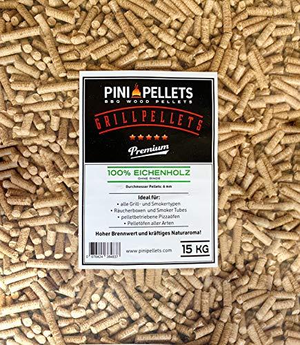 PINI Gillpellets 15 KG - Holzpellets 100{9dca6a17559916d1dc55ae8ac94476d280167a043bd12512379adf125f13eef8} Eiche zum Grillen, Räuchern, Smoken auch für pelletbetriebene Pizzaöfen