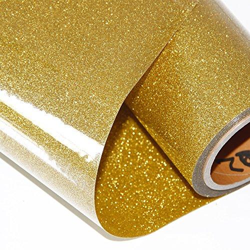 Hoho Wärmetransfer-Glitzer-Papier, Vinyl, Klebefolie für T-Shirts, 50,8x 30,5cm gold