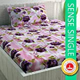 Divine Casa 100% Cotton Floral Single Bedsheet with 1 Pillow Cover - Purple and Green