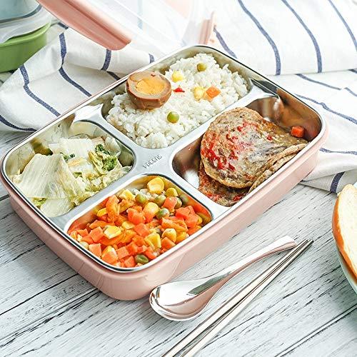 Nahasu Lunch-Boxen aus Edelstahl mit Fächern für die Mikrowelle Bento-Box für Kinder Picknick, Essensbehälter three grün