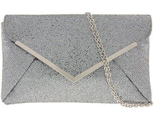 Briefumschläge, schimmernd, flach, Glitzer-VERKLEIDUNG Bridal Party Clutch Handtasche grau