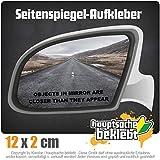 objects in mirror closer appear 12 x 2 cm IN 15 FARBEN - Neon + Chrom! Sticker Aufkleber