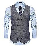GOMY Herren Weste Anzug Slim Fit Modern Smoking Sakko Herrenweste Elegant (2XL, Grau)