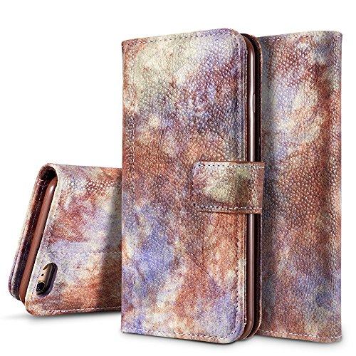 Wald Serie Bunte Paiting Litchi Textur Premium PU Leder Horizontale Flip Stand Brieftasche Case Cover mit Card Slots für iPhone 6 Plus und 6s Plus ( Color : Violet ) Violet