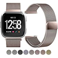 "Zekapu Fitbit Versa Armband, Fitbit Versa Milanese armbänder Ersatzbänder Edelstahl Sports Smart Watch Armbänder für Fitbit Versa Klein (5.5""- 8.1"") Groß (6.7""- 9.1""), 8 Farben"