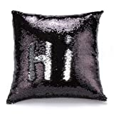 #10: CONNECTWIDE® Mermaid Pillow Cushion Cover, Mermaid Pillow Case without Insert Sparkling Mermaid with Flip Sequin Throw Pillow Mermaid Magic Glitter Reversible Color Changing Decorative Pillow Shams Dorm Room Decor for Sofa Comfy, When you move your fingers through the fabric, Hidden Zipper Design, The sequins will follow your direction and Give the 2 colors. 40x40CM (16x16 Inches)- 1 Pc Black & silver