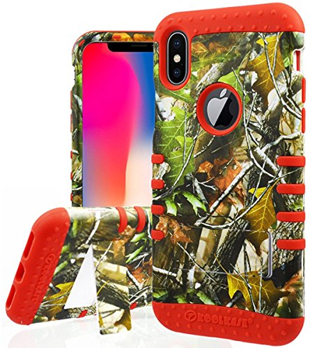 iPhone X Fall, Camo Fall Serie Oak Tree Mossy Blätter Hunter Camouflage Full Body stoßfest Impact Sicher Seite Griff Armor Drop Proof Cover für Apple iPhone X, Rot Case Cover Hunter-serie