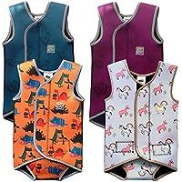 Swim Cosy Traje de neopreno para niños 0-3 años Baby/Toddler Wetsuit Vest with UPF50 - Neoprene Wrap around design for Boys / Girls 0-3 years (Orange Dinosaurs, XL 2-3 años)