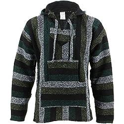 Siesta Mexicano Baja Jerga con capucha hippie jersey - Minty verde - sintético, Minty verde, 50% de acríliconorigin n50% algodón 50% algodón 50% de acrílico, Unisex, X-Large