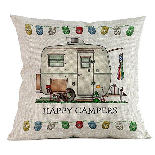 (DOGZI Kissen Bettwäsche Weihnachten Sofa Dekokissen Kissen Weihnachten - Glücklich Camper Baumwolle Leinen Sofa Fall Taille Wurf Kissenbezug Home Decor)