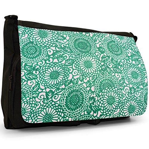 Arte giapponese Hippy Vortici–Borsa Tracolla Tela Nera Grande Scuola/Borsa Per Laptop Green