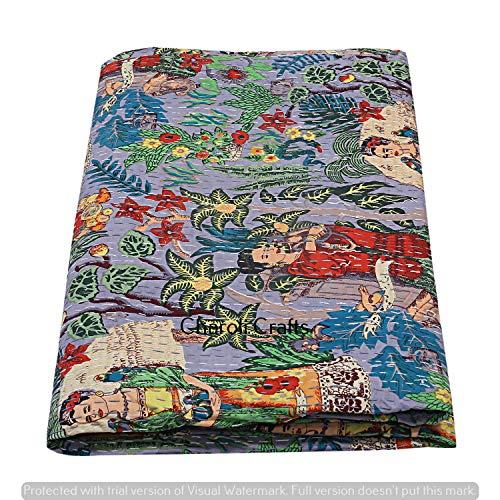 Charoli Enterprises Kantha Quilts indische Baumwolle, handgefertigt, Gudri Ethno-Bettwäsche, Überwurf, Queen, gestickt, Gudri Boho Living Bettbezug, Bohemian Decor