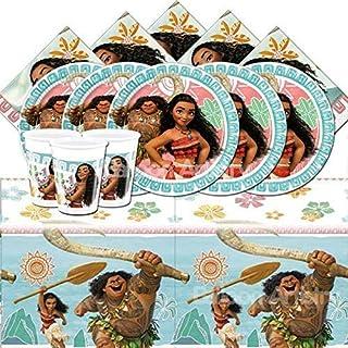 Disney-Vaiana-Partyset mit 16Bechern, 16Papptellern, 16Servietten und 1Tischdecke, BPWFA-315