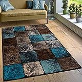 Designer Teppich Wohnzimmer Ausgefallene Farbkombination Karo Türkis Braun Creme, Grösse:80x150 cm