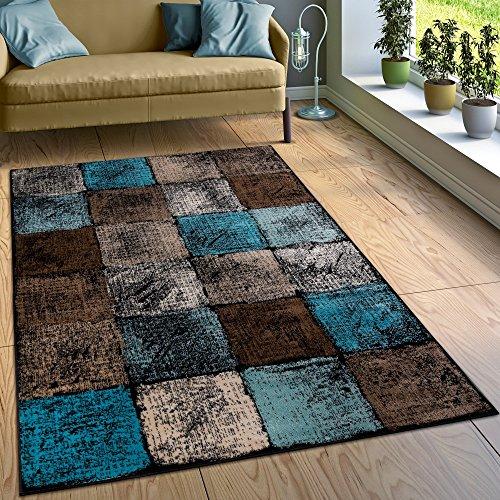 designer-teppich-wohnzimmer-ausgefallene-farbkombination-karo-turkis-braun-creme-grosse80x150-cm
