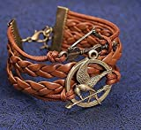 Lederarmband The Hunger Games, Tribute von Panem, Symbol Spotttölpel und Pfeil und Bogen, braun