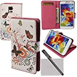 xhorizon� Watercolor Flower Magnetic Folio Case Cover Flip Simple Card Wallet for Samsung Galaxy S5 i9600 G900