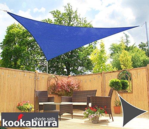 Voile d'Ombrage Bleu Triangle 5m - Ajouré Premium - 185g/m2 - Kookaburra