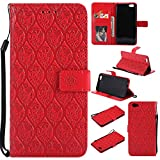 BONROY Oppo R9s Case, Oppo R9s Leather Wallet Case Embossing Pattern Design Leather Flip BookStyle Phone Cover Magnetic Folio Wallet Bag Case Cover for Oppo R9s - (Rattan flowers - red)