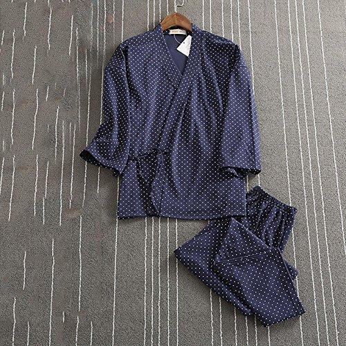 Pigiama di Kimono Inverno Donna e Uomo Impostato Con corda indumenti da notte , grey for woman navy blue for women