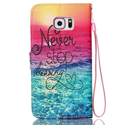 Copertura per Samsung Galaxy S6 Edge Plus in pelle, Samsung Galaxy S6 Edge Plus Custodia Portafoglio, S6 Edge Plus Case Cover, Ukayfe blue Wave-this iphone is locked Design dellunità di elaborazione  rosa blu-Never Stop Dreaming Alba in mare