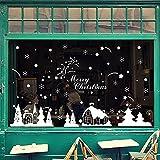 LQZ Weihnachten Fensterbild Fenstertattoo Festersticker Fensteraufkleber Wandtattoo Wandsticker Fenster Deko Schaufenster Schneeflocken