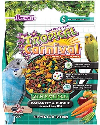 F.M. BROWNS - PET 118563 Tropical Carnival Zoo-Vital Sittich- & Wellensittichfutter, 0,8 kg, 1 Stück