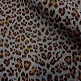 Meterware Stoff Baumwolle Musselin Leo grau beige Animal