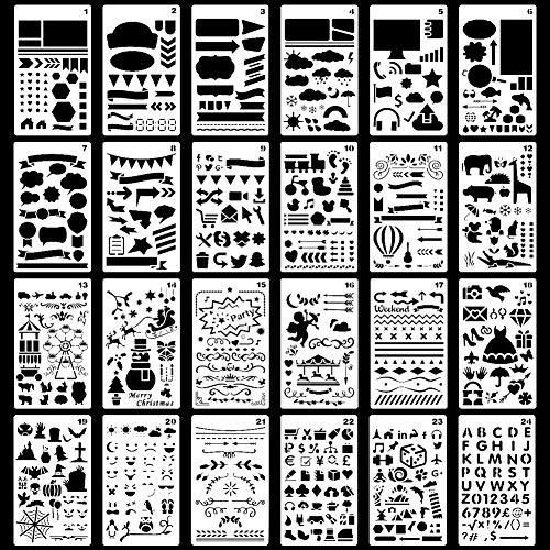 HAKACC Schablonen Set, 24 Blätter Zeichenschablonen Stanzschablone zum Nachzeichen für Bullet Journal, Scrapbooking, Textilgestaltung, Gästebuch, DIY Geschenkkarten