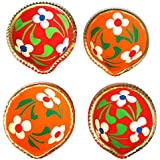 Diwali Diya Set Of 5 Handmade Earthen Clay Terracotta Traditional Diya Dipawali Diya Diwali Diya Oil Lamps For Pooja Diwali Deepak Fancy Diya For Rongali