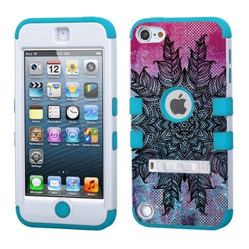 iPod Touch 5. 6. Generation Weiß Kunststoff/Blau Silikon 3-Stil Hybrid Hard Schutzhülle für Apple- für Mädchen und Boys-Shockproof Staubfrei, mit Ständer, Feather Mandala Black