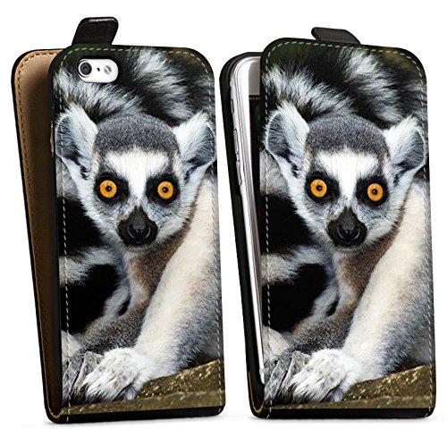 Apple iPhone X Silikon Hülle Case Schutzhülle Lemur Affe Madagaskar Downflip Tasche schwarz